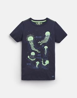 Joules UK Ray Older Boys Glow In The Dark T-Shirt 3-12 Yr NAVY JELLYFISH