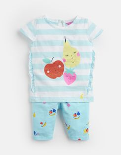 Joules UK Paula Baby Girls Jersey Top And Legging Set AQUA STRIPE FRUIT