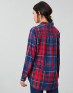 Joules Womens Lorena Longline Brushed Woven Shirt RED CHECK