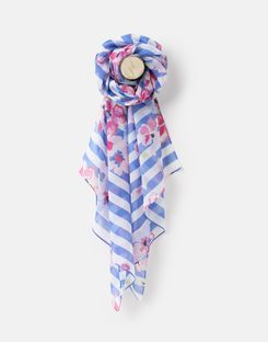 Joules US Wensley Womens Printed Scarf BLUE STRIPE FLORAL