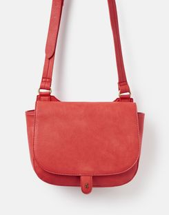 Joules US Kelby Bright Womens Saddle Purse RED