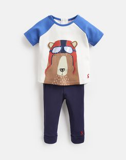 Joules US Mack Baby Boys Screenprint Top And Pants Set BLUE PILOT BEAR