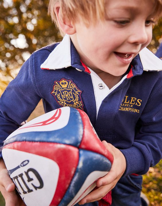 Joules UK UNION Older Boys RUGBY SHIRT 3-12yr FRENCH NAVY