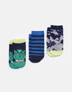 Joules UK Eat Feet Shorty Boys 3Pk Trainer Socks NAVY DINO