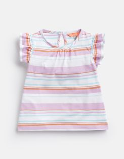 Joules US Kaela Younger Girls Jersey Printed T-Shirt 1-6 Yr MAUVE WHITE MULTI STRIPE