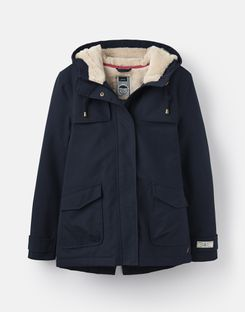 Joules US Coast Cosy Womens Sherpa Fleece-Lined Waterproof Jacket MARINE NAVY