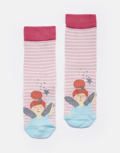 Joules US NEAT FEET Girls Character Socks PINK STRIPE FAIRY