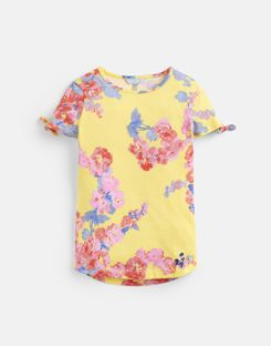 ac29a8308 Joules UK Liv Older Girls Tie Sleeve Top 3-12 Yr YELLOW FLORAL ...