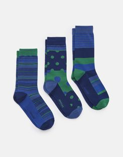 Joules UK Striking Mens Socks Three Pack BLUE STRIPE
