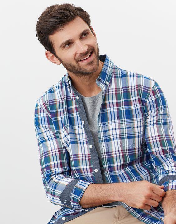 Joules Mens Lyndhurst Long Sleeve Classic Fit Poplin Shirt - Purple Large Check