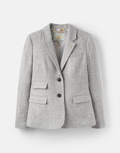 Joules UK Wiscombe Womens Tweed Blazer GREY TWEED