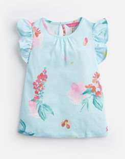 Joules UK KAELA Younger Girls Jersey Printed T-Shirt 1-6 Yr AQUA FLORAL