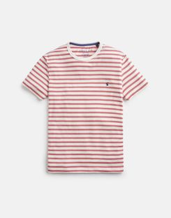 Joules US BOATHOUSE TEE Mens Striped Crew Neck T-Shirt CREAM PINK STRIPE
