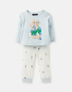 Joules UK Byron Baby Boys Official Peter Rabbit™ Collection Applique Top And Trouser Set BLUE PETER RABBIT