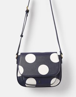 Joules UK Darby Print Womens Pu Saddle Bag NAVY SPOT