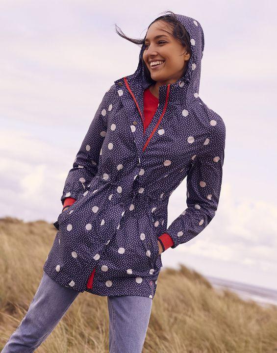 Joules Womens Golightly Printed Waterproof Packaway Jacket - Navy Spot