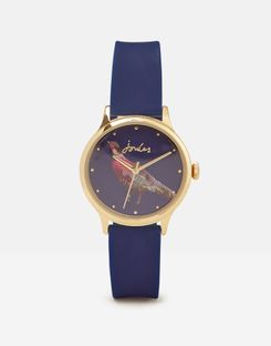 Joules UK Ryton Navy Phesant Womens Ladies Silicone Strap Watch NAVY PHEASANT