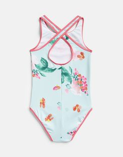 Joules UK BRIONY Older Girls Cross Back Swimsuit 1-12 Yr AQUA FLORAL