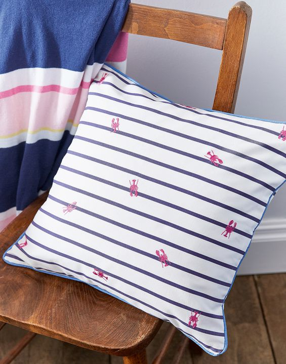 Joules UK Orchard Ditsy Lobster Homeware Cushion BLUE LOBSTER STRIPE