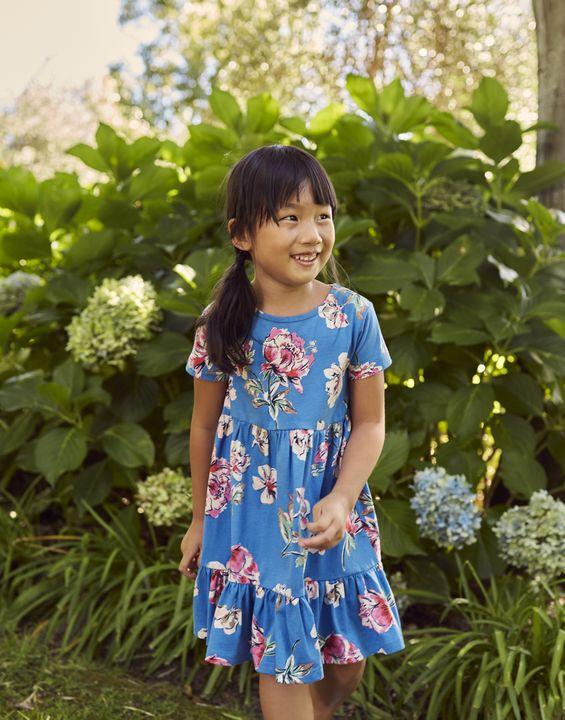 Joules Girls Evelyn Tiered Jersey Dress 1-12 Years - Blue Floral