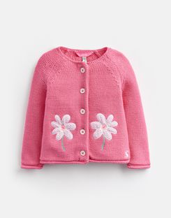 Joules UK Dorrie Baby Girls Knitted Cardigan PINK FLOWER