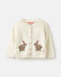 Joules US Dorrie Baby Girls Knitted Cardigan CREAM BUNNIES