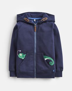 Joules US Seth Younger Boys Novelty Screenprint Hooded Sweatshirt 1-6 Yr NAVY CHAMELEON POCKET