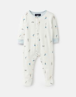 Joules UK Ziggy Baby Boys Official Peter Rabbit™ Collection Printed Babygrow With Feet CREAM STRIPE PETER RABBIT