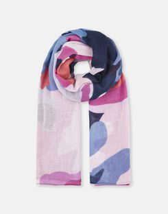 Joules UK Atmore Womens Oversized Square Cotton Scarf NAVY FLORAL GARDEN