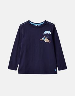 Joules US Finlay Younger Boys Screenprint T-Shirt 1-6 Years NAVY PARACHUTE DOG