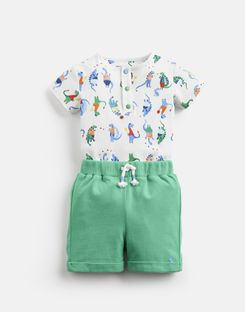 Joules US Joey Baby Boys Jersey Bodysuit And Shorts Set WHITE SPORT DINO