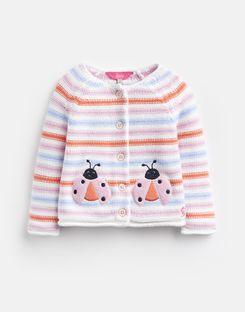 Joules UK Dorrie Baby Girls Knitted Cardigan WHITE STRIPE LADYBIRD