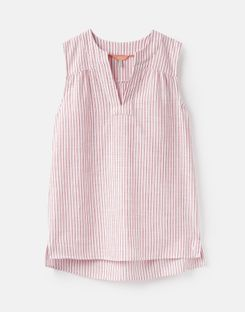 Joules US Juliette Womens Sleeveless V Neck Top RED STRIPE
