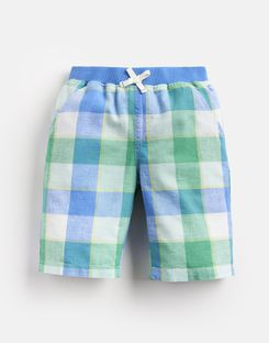 Joules US Huey Older Boys Linen Mix Woven Short 1-12 Yr BLUE GREEN GINGHAM
