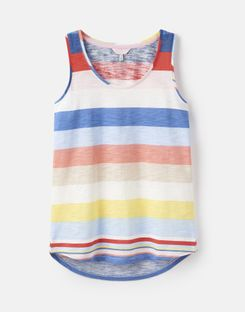Joules US Bo Stripe Womens Jersey Tank Top BLUE MULTI STRIPE