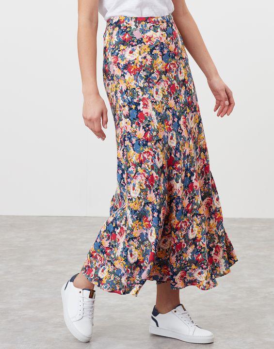 Joules Womens Coletta Bias Cut Skirt - Blue Floral