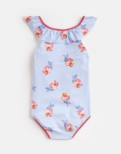 Joules UK Isla Older Girls Ruffle Swimsuit 1-12 Yr BLUE FLORAL STRIPE