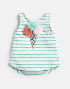 Joules UK Lou Luxe Older Girls Tie Back Tank 3-12 Yr GREEN STRIPE ICE CREAM