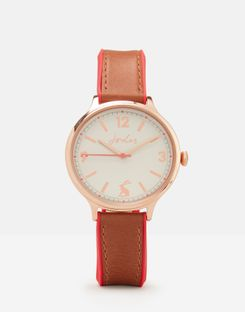 Joules UK Darbridge Tan Womens Womens Leather And Silicone Strap Watch TAN