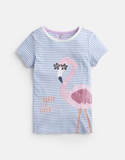 Joules US Astra Older Girls Jersey Applique Top 3-12 Yr BLUE STRIPE FLAMINGO