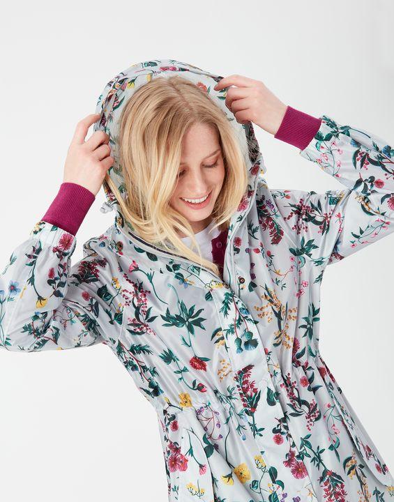 Joules Womens Golightly Printed Waterproof Packaway Jacket - Silver  Floral