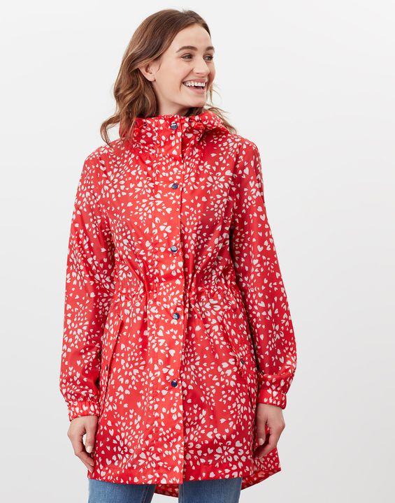 Joules Womens Golightly Printed Waterproof Packaway Jacket - Red Leopard