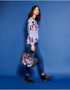 Joules Womens Darby Print Pu Saddle Bag ONE in BLACK WINTER FLORAL in One Size