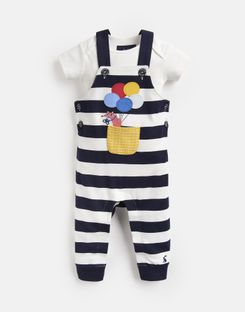 Joules US Wilbur Baby Boys Dungarees Set NAVY STRIPE FOX