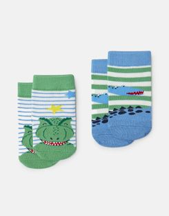 Joules US Neat Feet Baby Boys Character Socks Two Pack MULTI DINOS