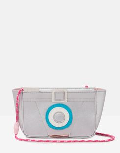 Joules US Krista Girls Novelty Party Purse SILVER GLITTER CAMERA