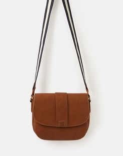 Joules US Bridport Bright Womens Faux Leather Saddle Cross Body Bag TAN