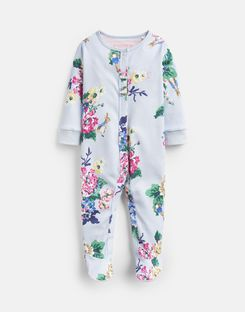 Joules US Razamataz Baby Girls Official Peter Rabbit™ Collection Printed Babygrow LIGHT BLUE RABBIT FLORAL