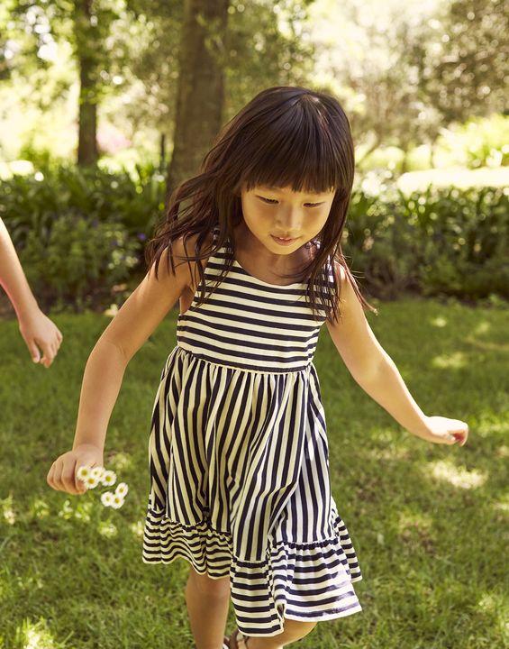 Joules Girls Juno Tiered Jersey Dress 1-12 Years - Navy Stripe