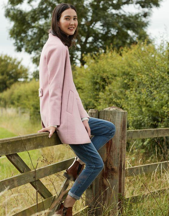 Joules Womens Addington Herringbone Coat - Pink Herringbone